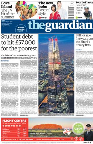 The Guardian front page
