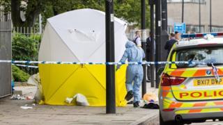 Police at scene of stabbing in London