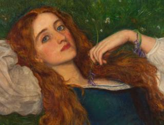 In the Grass, about 1864-5, Arthur Hughes (detail)