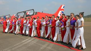 Red Arrows arriving at Zhuhai Airport in China, ahead of their first-ever air display in the country. SAC Adam Fletcher/RAF/Ministry of Defence/Crown Copyright/PA Wire