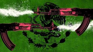 Graphic showing two AK-47s firing cocaine with the Mexican coat of arms in the background