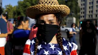 Protester in Chile