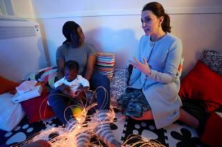 Britain's Duchess of Cambridge, speaks to a patient during a visit to the sensory room of the Mother and Baby Unit at the Bethlem Royal Hospital in south London, Britain, 24 January 2018.