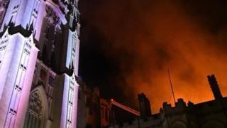 Fire at Bristol University building