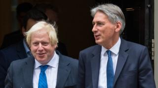 Boris Johnson and Philip Hammond on Downing Street