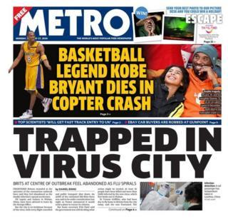 Newspaper headlines: Basketball legend killed and Kate's photos of Holocaust survivors