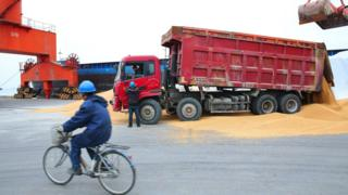 A worker (L) rides a bicycle as other workers load imported soybeans onto a truck at a port in Nantong in China's eastern Jiangsu province on April 4, 2018