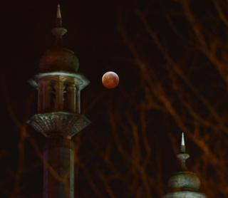 The Super Blood Wolf Moon is visible over the Royal Pavilion in Brighton