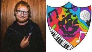 Ed Sheeran with his badge, shown in detail on the right