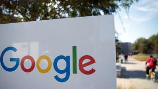 Google logo on a sign