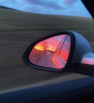 in_pictures Wing mirror sunset