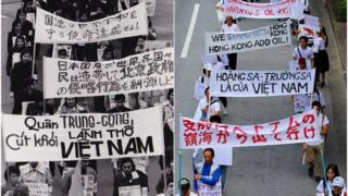 Cuộc biểu tình của sinh viên Việt Nam của 45 năm trước (trái) và nay vào 8/9/2019 tại Tokyo, Nhật Bản
