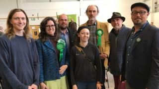 Green party candidates at the Powys count