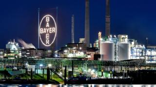 A riverside view of Bayer chemical corporation in Leverkusen, Germany
