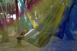news A Mexican asylum-seeking woman sleeps in a hammock