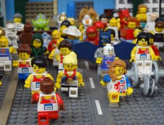 Lego model of Mo Farah leading the Great North Run
