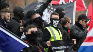 """Neo-Nazis and skinheads from across Europe organise a """"White Man March"""" under the banner of """"National Action"""" White Man March, Newcastle, Britain - 21 Mar 2015"""