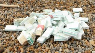 Cigarette packets on Chesil Beach
