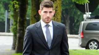 Ched Evans outside Cardiff Crown Court