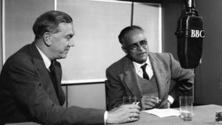 Authors Graham Greene and R.K Narayan. 'Asia and the West', a weekly discussion broadcast in 'London Calling Asia' the BBC programme in English for South, South East Asia and the Far East. In this edition novelists Graham Greene and R.K. Narayan discuss 'Aspects of the Novel', 1957