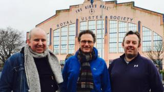 U2 fans Geoff Caves, Brendan Mulgrew and Martin McCarney outside the King's Hall in Belfast