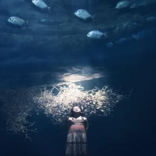 A girl underwater