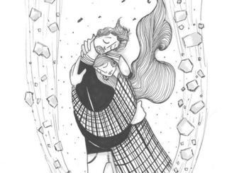 Ilustração de um homem abraçando uma mulher