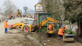 Diggers have started work on filling the gap to complete the line