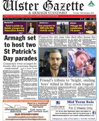 front page Ulster Gazette Thursday 14 February 2019