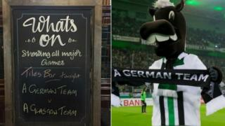 Sign at pub and Gladbach mascot with scarf
