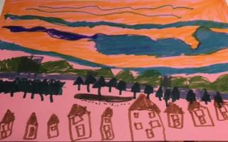 Child's drawing of sunrise