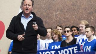 David Cameron addressing a rally