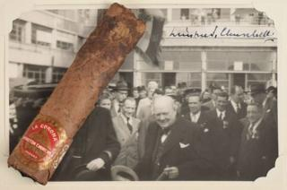 The cigar was accompanied by a photo of the World War Two-era leader