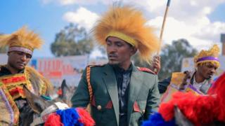 in_pictures Hachalu on a horse commemorating Oromo horsemen who fought and defeated Italy on the Battle of Adwa in 1896 - March 2019
