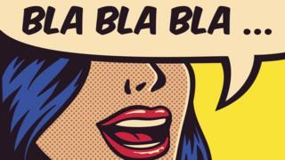 Dibujo con una leyenda que dice: Bla, bla, bla.