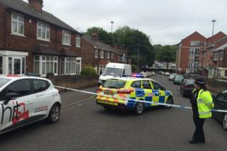 Police cordon in Russell Road