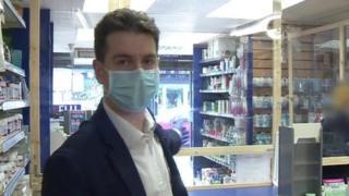 Pharmacist wearing face mask