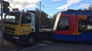 Tram-train and lorry crash