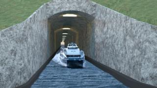 изображение судоходного тоннеля в Норвегии