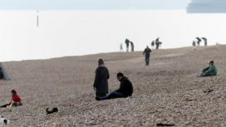 People on Southsea beach