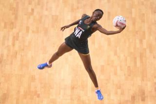 Phumza Maweni of South Africa in action during the Vitality Netball International Series match between South Africa and Australian Diamonds, as part of the Netball Quad Series at Echo Arena on January 13, 2019 in Liverpool, England.