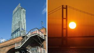 Manchester's Beetham Tower and the Humber Bridge
