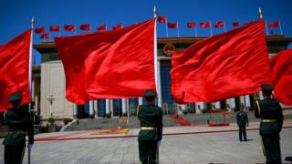 ทหารจีนเตรียมต้อนรับผู้นำที่เข้าร่วมประชุม