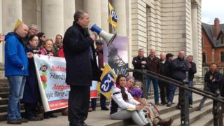 PCS general secretary, Mark Serwotka, addressing members at a rally outside the National Museum in Cardiff