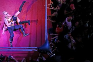 Wrestlers perform at an all female wrestling event in London