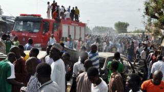 Le site d'une explosion de bombe qui a secoué le rond-point le plus fréquenté près du marché de Maiduguri en 2014 (illustration)