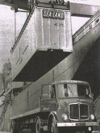 Sea-land freight being loaded in 1966