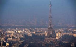 The Eiffel Tower is pictured from the Montparnasse Tower on December 29, 2016 in Paris