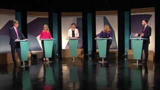 The leaders of Northern Ireland's main political parties, from left to right, Mike Nesbitt, Michelle O'Neill, Arlene Foster, Naomi Long and Colum Eastwood