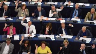 Members of the European Parliament vote at a session in Brussels. File photo